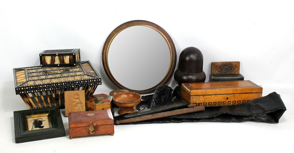 Lot 49 - A porcupine quill box (af), a glove box inscribed 'O.W.', small trinket boxes, etc.