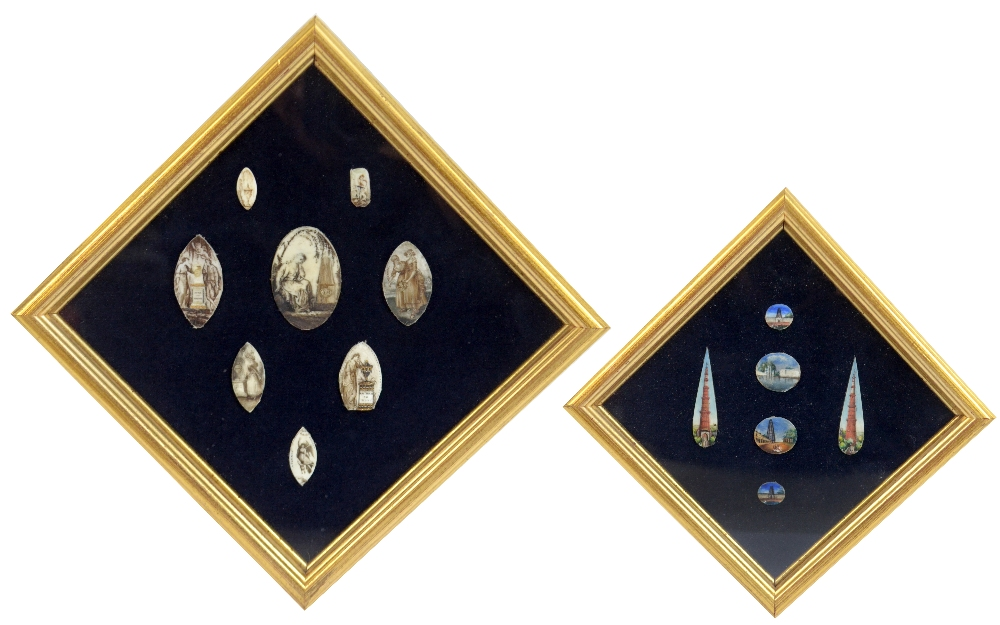 Lot 4 - A group of eight early 19th century painted ivory plaques, all contained within the same frame, also