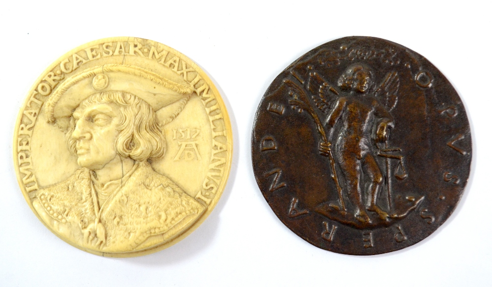 Lot 5 - A 19th century circular ivory medallion carved in relief with portrait of Emperor Maximilian I after