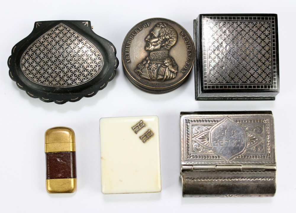 Lot 14 - A 19th century white metal combination snuff box and vesta case inscribed 'JT Lee GP', three further