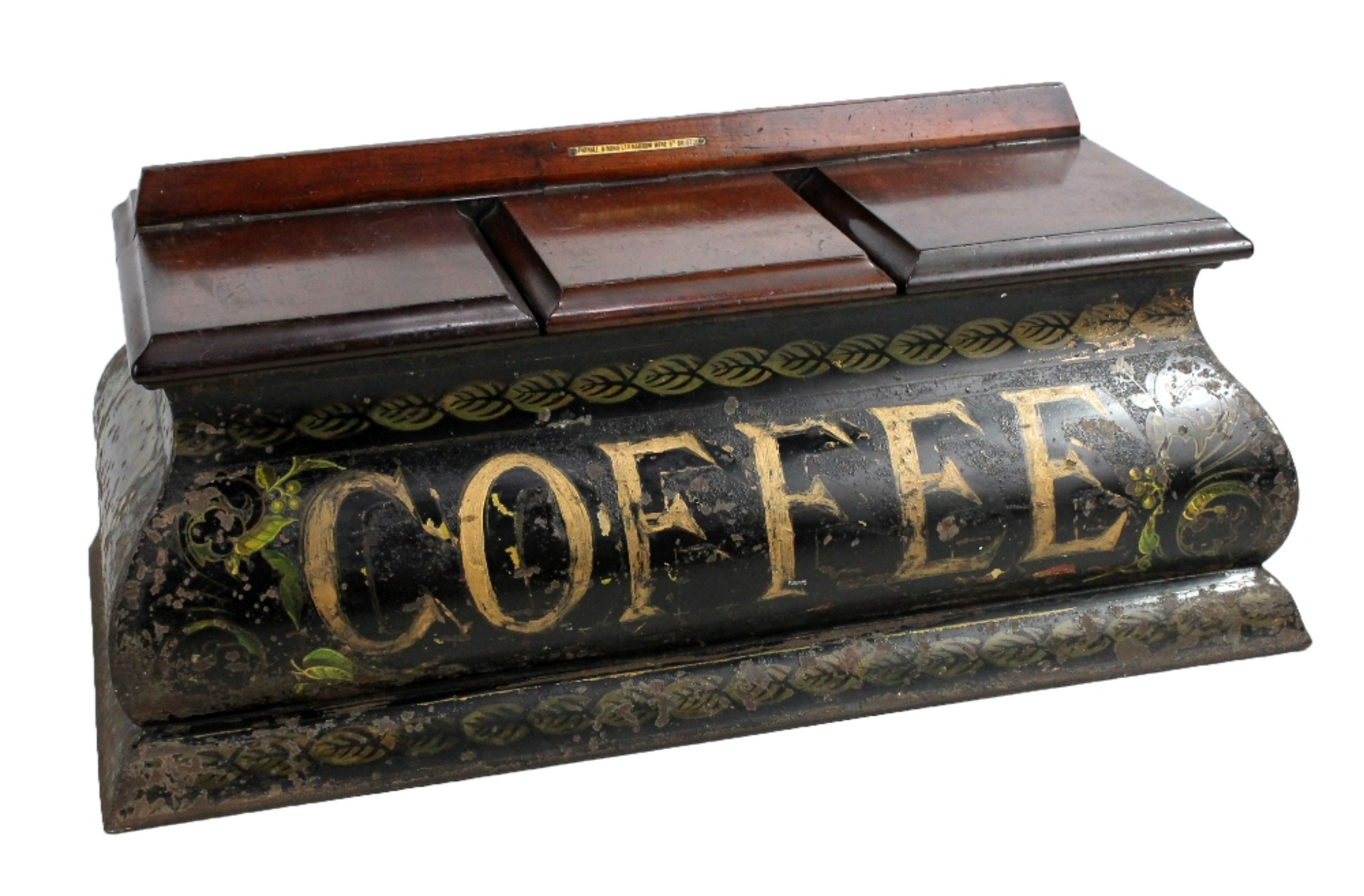 Lot 34A - PARNALL & SONS; a rare 19th century Toleware and mahogany triple section coffee container, the