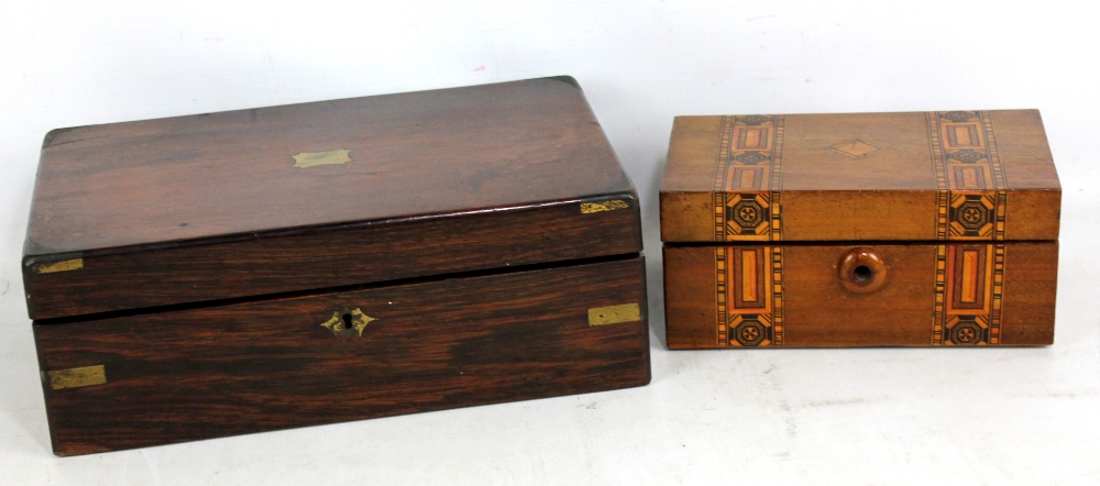 Lot 36 - A rosewood writing slope for restoration and a walnut box with inlaid detail.Additional