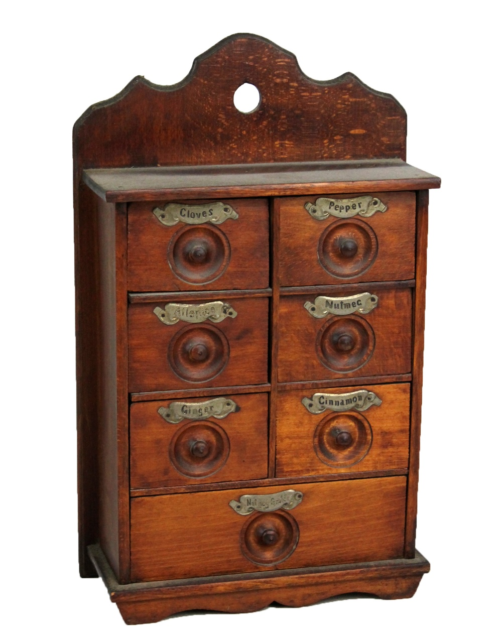 Lot 50A - A set of circa 1900 oak and beech spice drawers set with seven drawers inscribed 'Clove', '