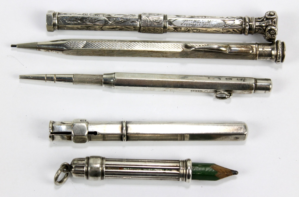Lot 24 - SAMPSON MORDAN & CO; a hallmarked silver propelling pencil further stamped 'Asprey', length 11cm,