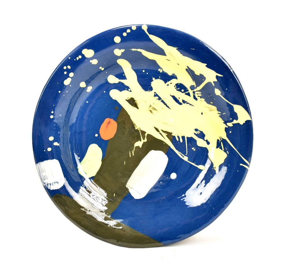 Lot 19 - BRUCE McLEAN (born 1944);Untitled (2015), a large earthenware plate with brush and splash