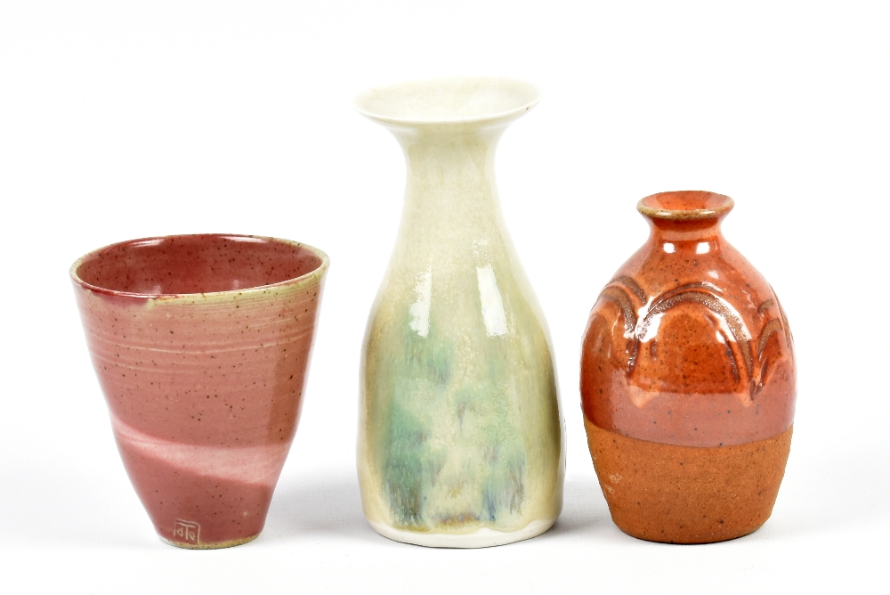 Lot 112 - MARIANNE DE TREY (1913-2016); a porcelain vase and cup and a stoneware bottle, impressed dTe