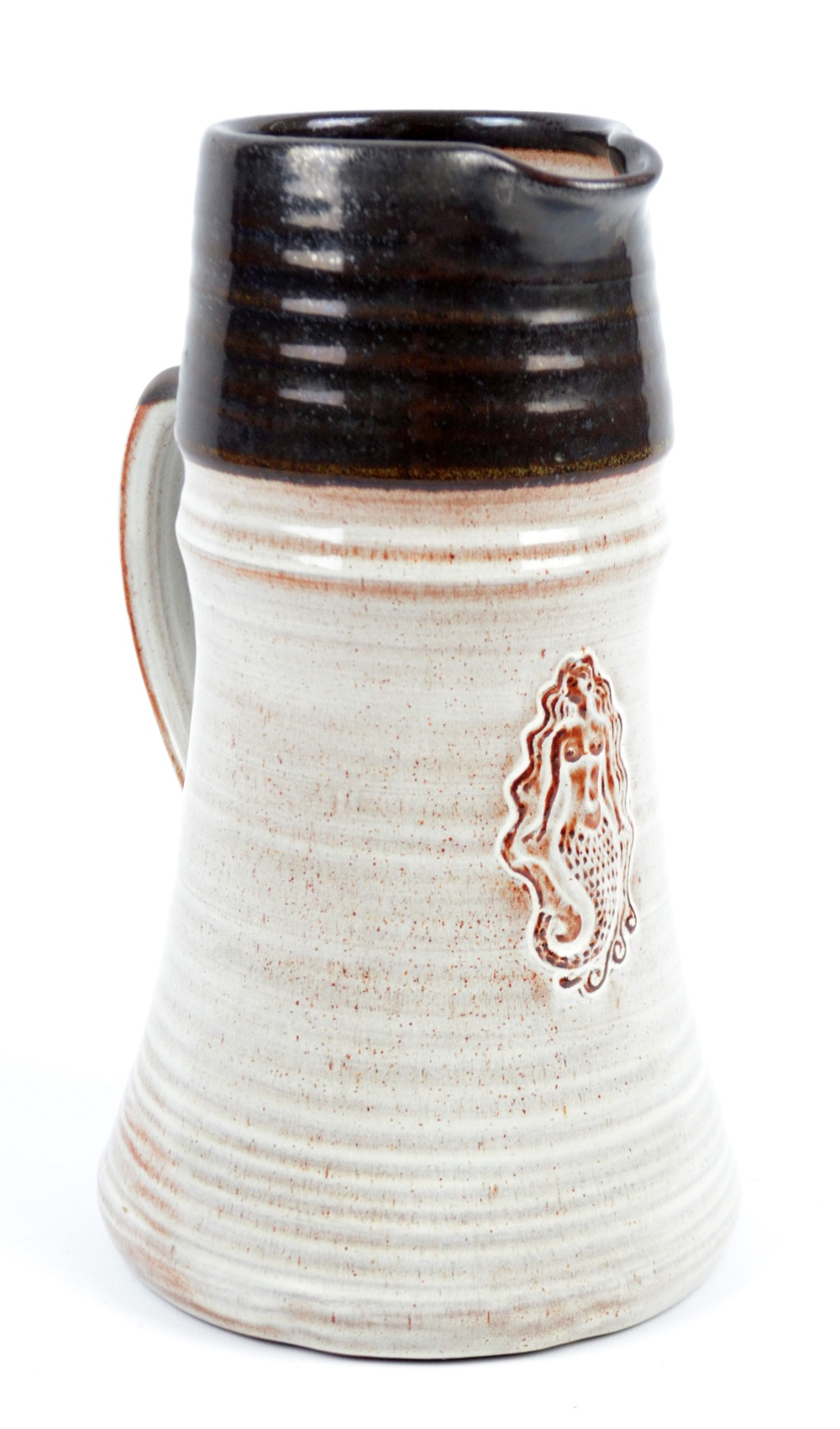 Lot 135 - HARRY HORLOCK-STRINGER (1927-2014); a tin glazed earthenware jug embossed with a mermaid,