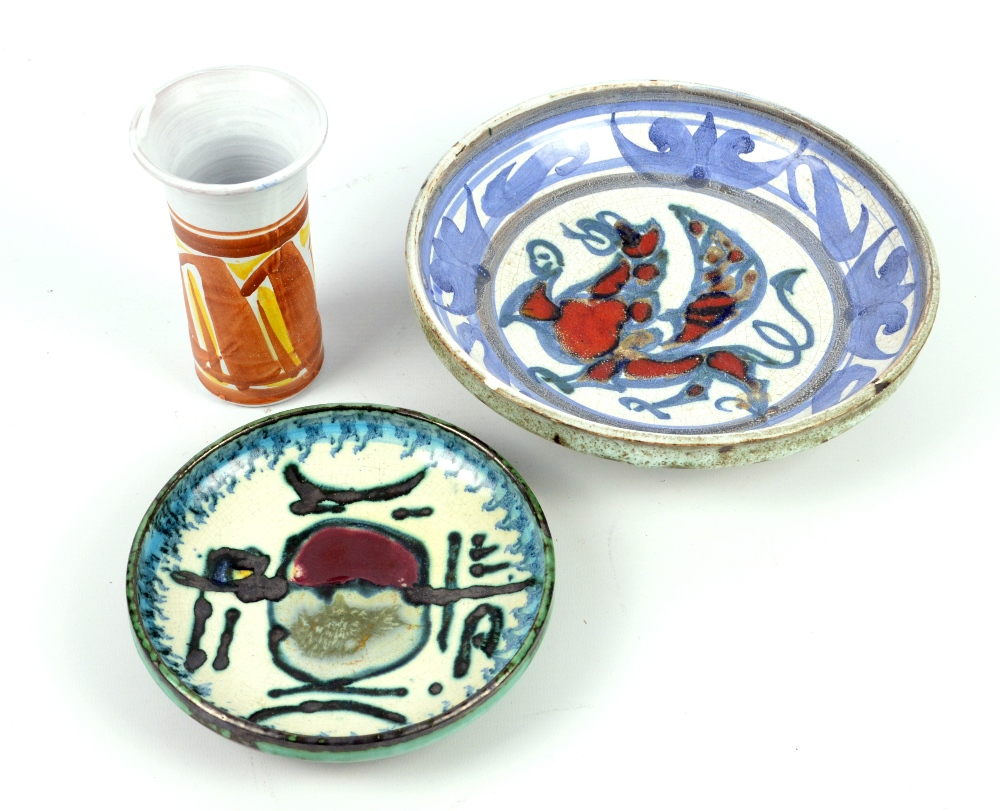 Lot 118 - ADAM DWORSKI (1917-2011) for Wye Pottery; two stoneware footed dishes, one decorated with a winged