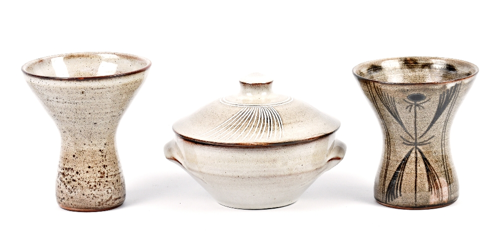 Lot 98 - DAVID LEACH (1911-2005) for Lowerdown Pottery; a tin glazed earthenware bowl and cover and two