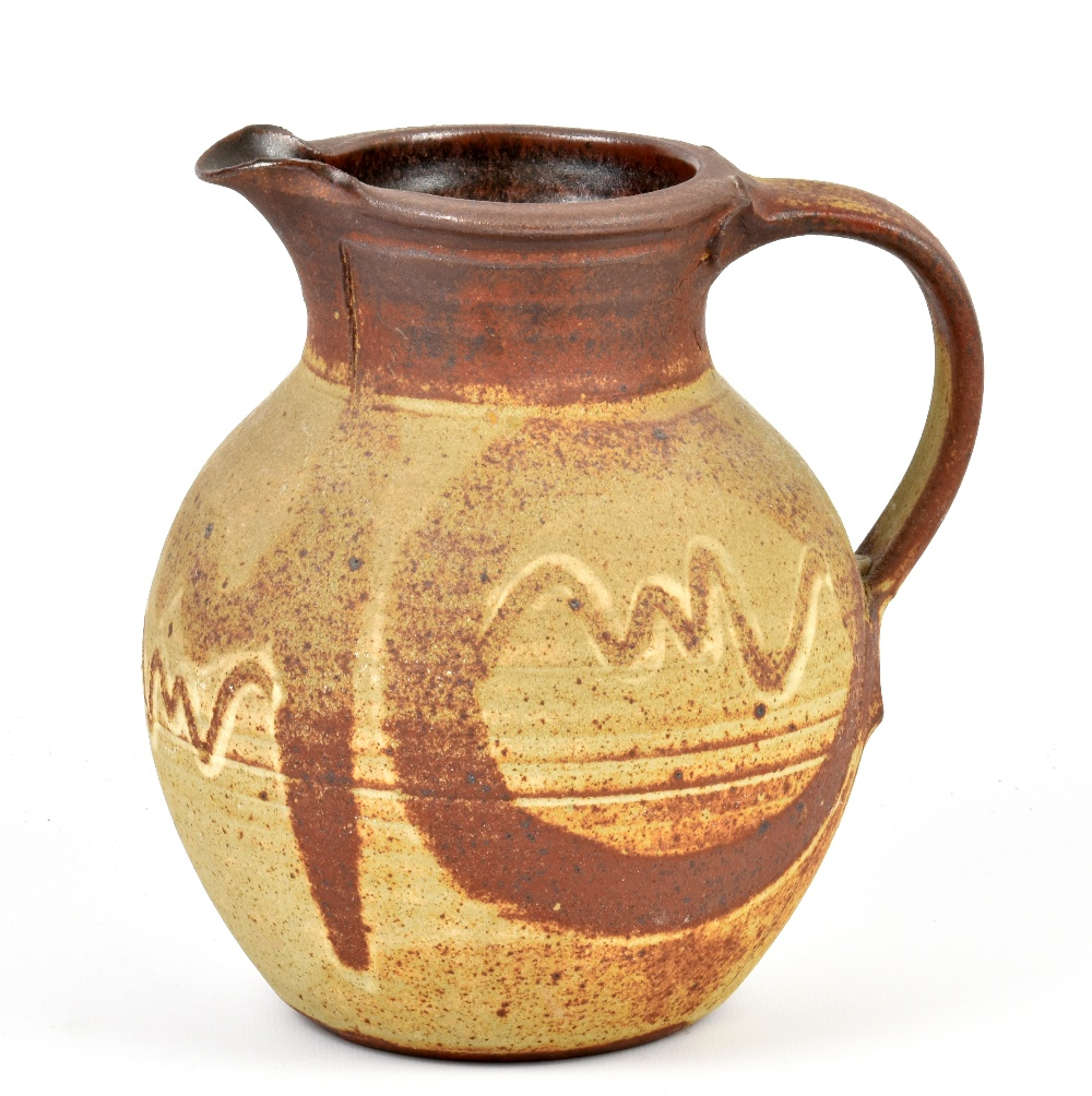 Lot 134 - MICHAEL CASSON (1925-2003); a stoneware jug covered in dry ash glaze, impressed MC mark, height