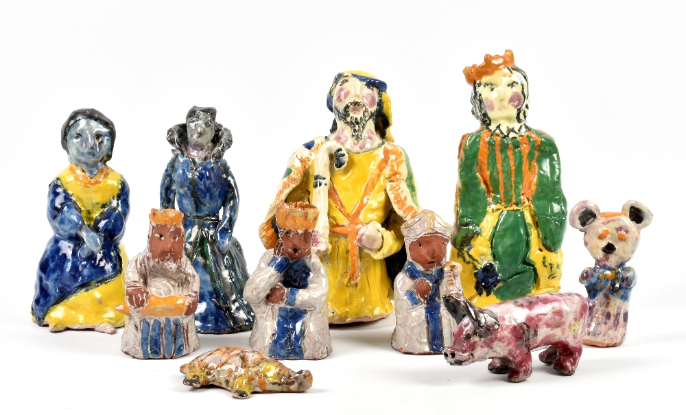 Lot 102 - BARBARA TRIBE (1913-2000); a group of stoneware and earthenware figures and animals comprising two