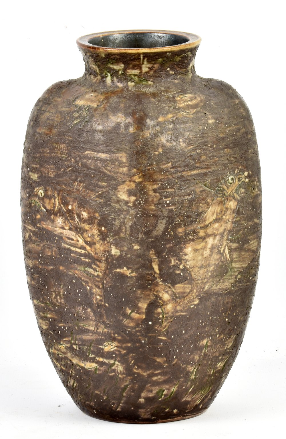 Lot 81 - MARTIN BROTHERS; a large rounded rectangular salt glazed vase decorated to all four sides with