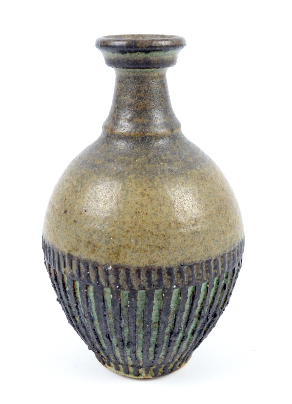 Lot 114 - RAY MARSHALL (1913-1986); a stoneware bottle with deeply incised decoration, incised signature,