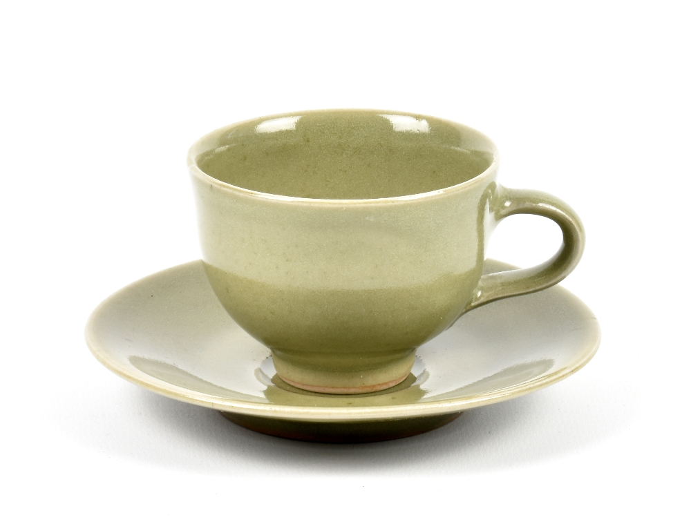 Lot 95 - HARRY DAVIS (1910-1986) & MAY DAVIS (1914-1998) for Crowan Pottery; a small stoneware cup and saucer