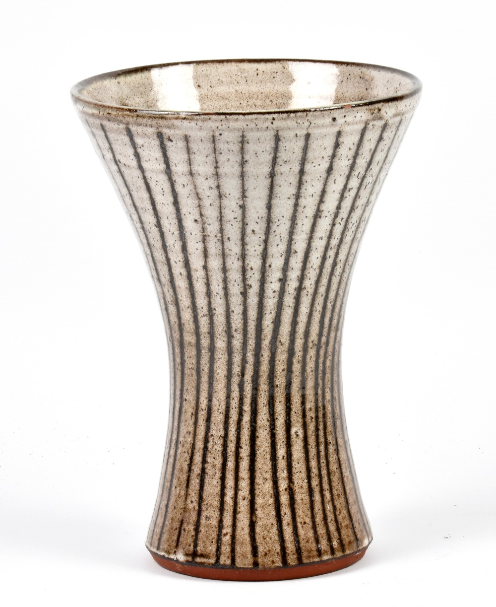 Lot 97 - DAVID LEACH (1911-2005) for Lowerdown Pottery; a large tin glazed earthenware waisted vase,