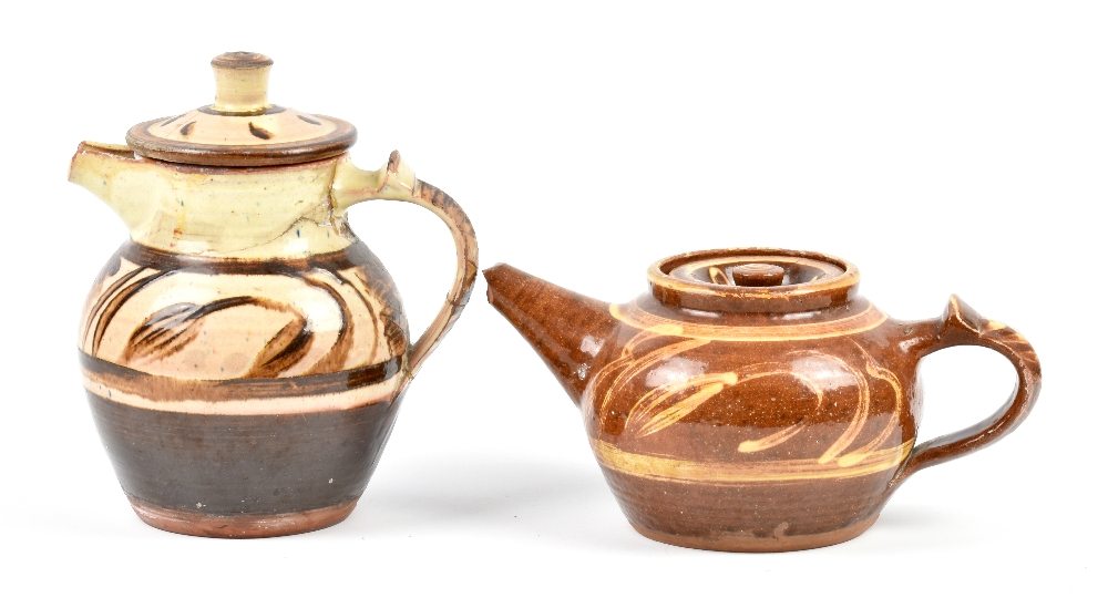 Lot 89 - MICHAEL CARDEW (1901-1983) for Winchcombe Pottery; a slipware teapot and coffee pot, impressed MC