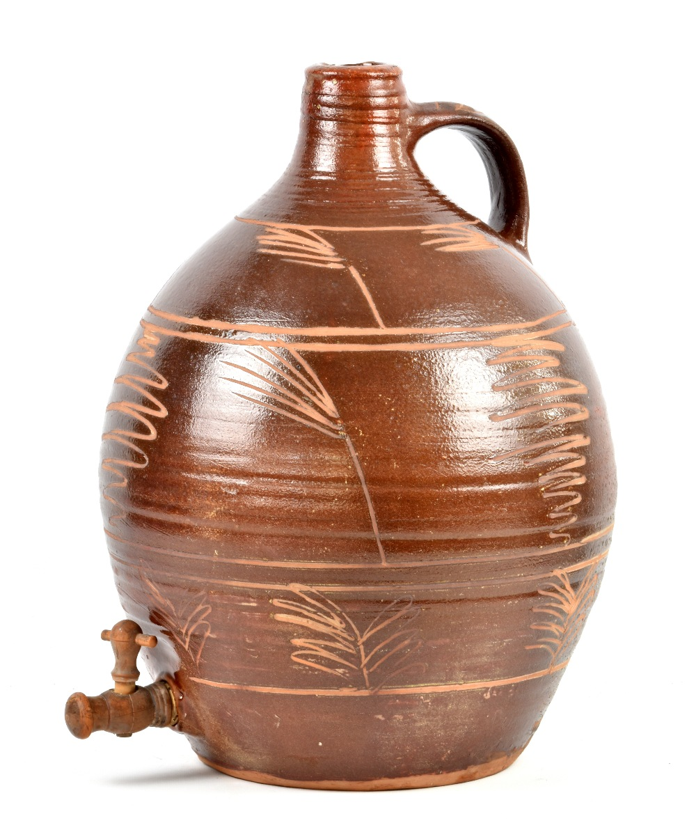 Lot 88 - MICHAEL CARDEW (1901-1983) for Winchcombe Pottery; a large slipware cider flagon, incised decoration