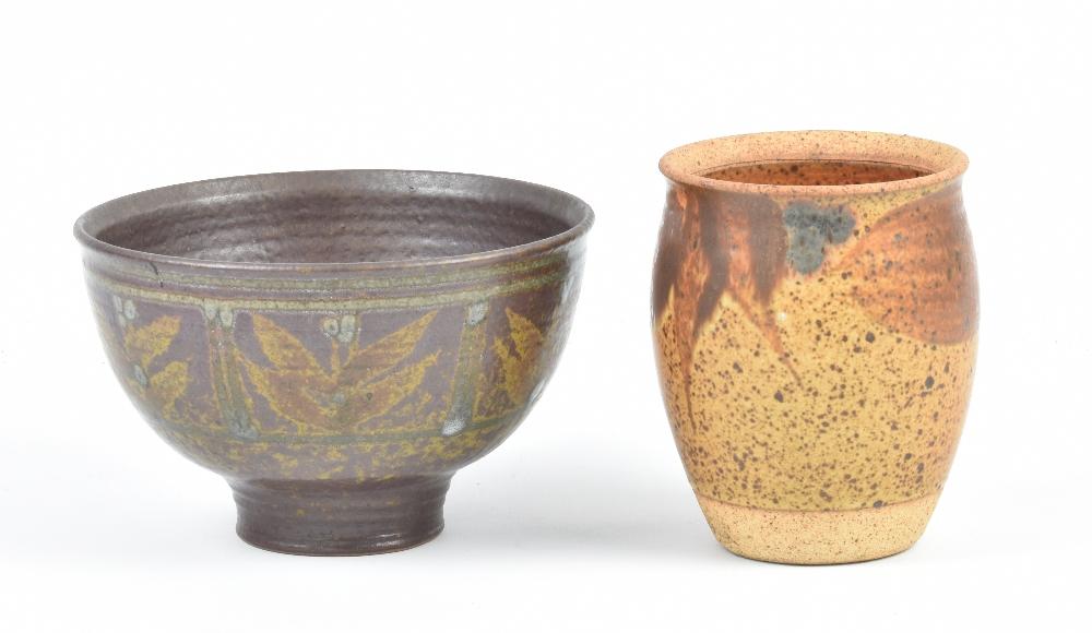 Lot 137 - DAVID LLOYD JONES (1928-1994); a stoneware footed bowl, impressed LJ mark, diameter 16cm, and a vase