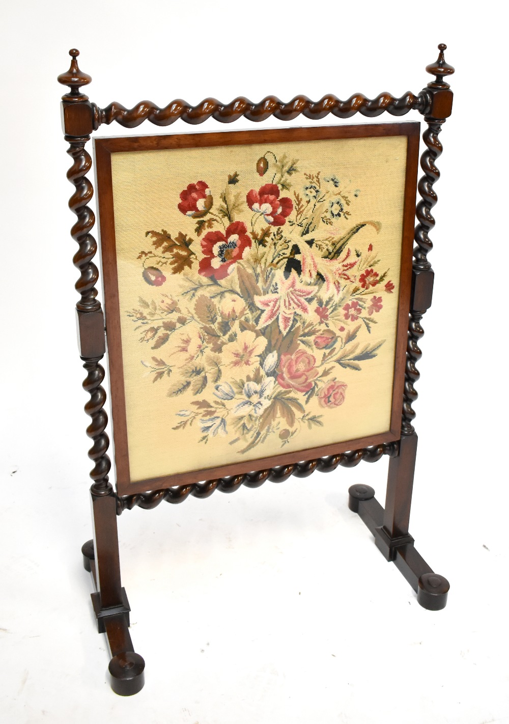 Lot 1846 - A 19th century mahogany and rosewood framed fire screen with rotating tapestry and silk panel,