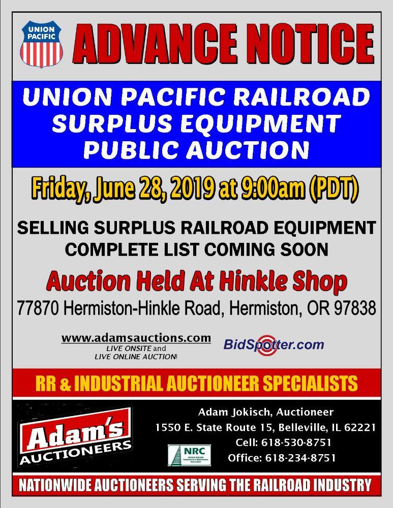 DAY 1 - UNION PACIFIC SURPLUS EQUIPMENT - PUBLIC AUCTION
