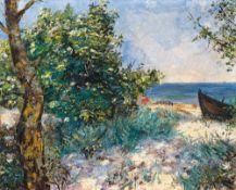 Alexander von Szpinger (1889 - Weimar - 1969)Heißer Sommertag am Meer.Öl auf Malkarton auf