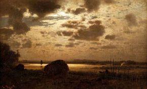 Louis Douzette (1834 Tribsees - 1924 Barth) Fischer im Mondlicht. Öl auf Leinwand. o. J. 410 x 670