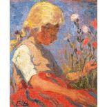 Elisabeth Büchsel (1867 - Stralsund - 1957)Hiddenseer Mädchen.Öl auf Leinwand auf Hartfaser