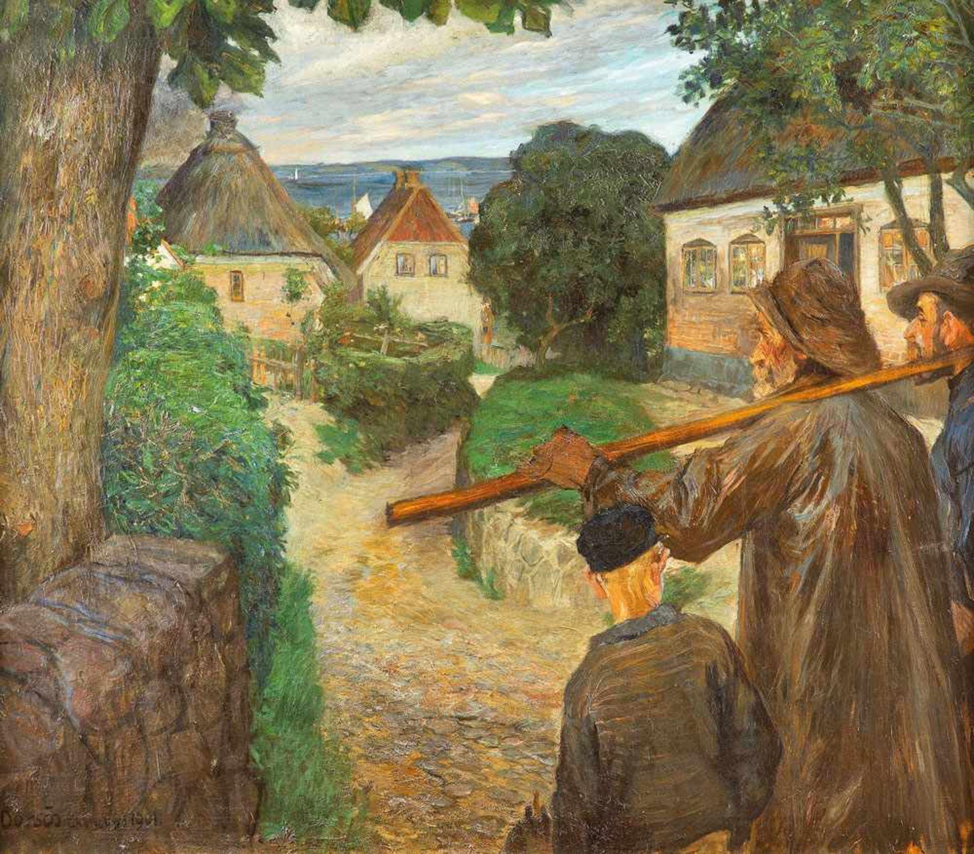 Ferdinand Dorsch (1875 Fünfkirchen/Ungarn - 1938 Dresden)Fischer in Ekensund.Öl auf Leinwand. 1901.