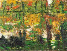Biene Feld (1960 Greifswald, lebt in Berlin)Garten, 2010/2012.Öl auf Leinwand. 300 x 400 mm. Verso