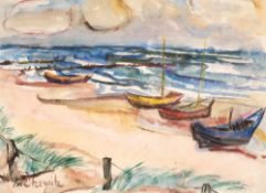 Augusta von Zitzewitz (1880 - Berlin - 1960)Am Strand von Hiddensee.Aquarell. Um 1930. 440 x 600