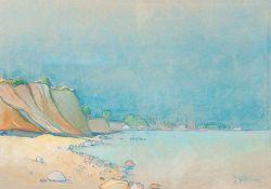 Julie Wolfthorn (1864 Thorn - 1944 Theresienstadt)Steilküste Hiddensee.Pastellkreide. Um 1930. 350