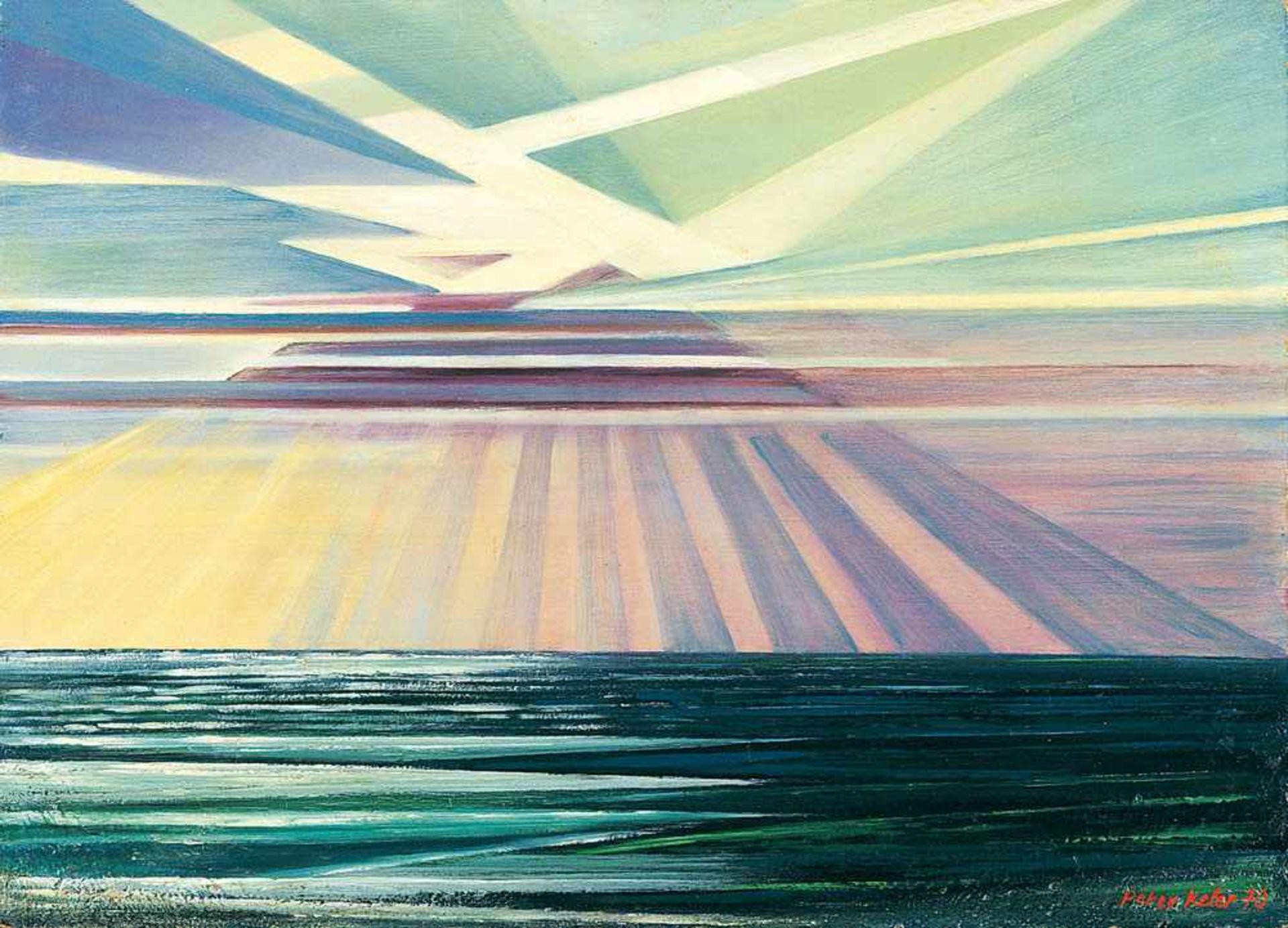 Peter Keler (1898 Preetz/Holstein - 1982 Weimar)Sonnenstrahlen.Öl auf Hartfaser. 1970. 500 x 700