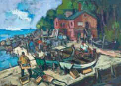 Tom Beyer (1907 Münster - 1981 Stralsund) Ostseefischer, Rügen. Öl auf Malkarton. 1950er Jahre. 480
