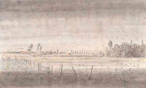 Alfred Partikel (1888 Goldap/Ostpreußen - 1945 Ahrenshoop)Landschaft bei Königsberg.Federzeichnung,