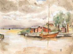 Ortrud Abeking (1904 Berlin - 1977 Torrevieja)Althäger Hafen, 1944.Aquarell. 340 x 450 mm. U. r.