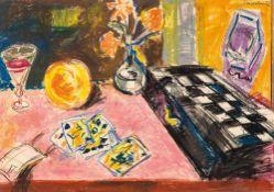 Ernst Hassebrauk (1905 - Dresden - 1974) Stillleben mit Schachspiel und Spielkarten. Ölkreide.