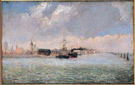 Gustav Pflugradt (1829 Franzensberg/Meckl. - 1907 Berlin)Seeansicht Stralsund.Öl auf Leinwand. Um