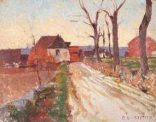 Dora Koch-Stetter (1881 Bayreuth - 1968 Althagen-Ahrenshoop)Dorfstraße.Öl auf Leinwand auf