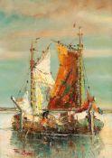 Tom Beyer (1907 Münster - 1981 Stralsund)Fischerboote, o. J.Öl auf Leinwand auf Malkarton