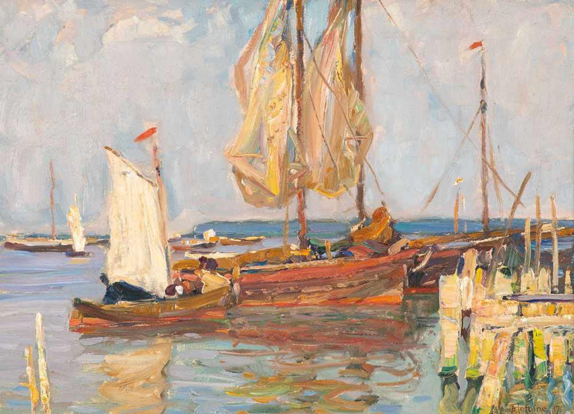 Otto Antoine (1865 Koblenz - 1951 Unteruhldingen, Bodensee)Segelboote im Hafen von Neuwarp (