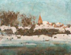 Rudolf Bartels (1872 Schwaan - 1943 Rostock) Schwaan im Winter. Öl auf Leinwand. Um 1910. 650 x 850