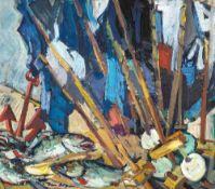 Tom Beyer (1907 Münster - 1981 Stralsund) Netzfahnen mit Anker und Fischen. Öl auf Karton. 1960er