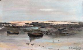 Katharina Bamberg (1873 - Stralsund - 1966)Boote am Strand, 1920er Jahre.Pastellkreide. 170 x 270