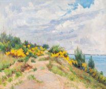 Katharina Bamberg (1873 - Stralsund - 1966)Dünenlandschaft mit Ginster.Öl auf Leinwand. 1910er
