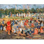 Elisabeth Büchsel (1867 - Stralsund - 1957)Kinderspielplatz.Öl auf Leinwand. Um 1916. 390 x 480 mm.