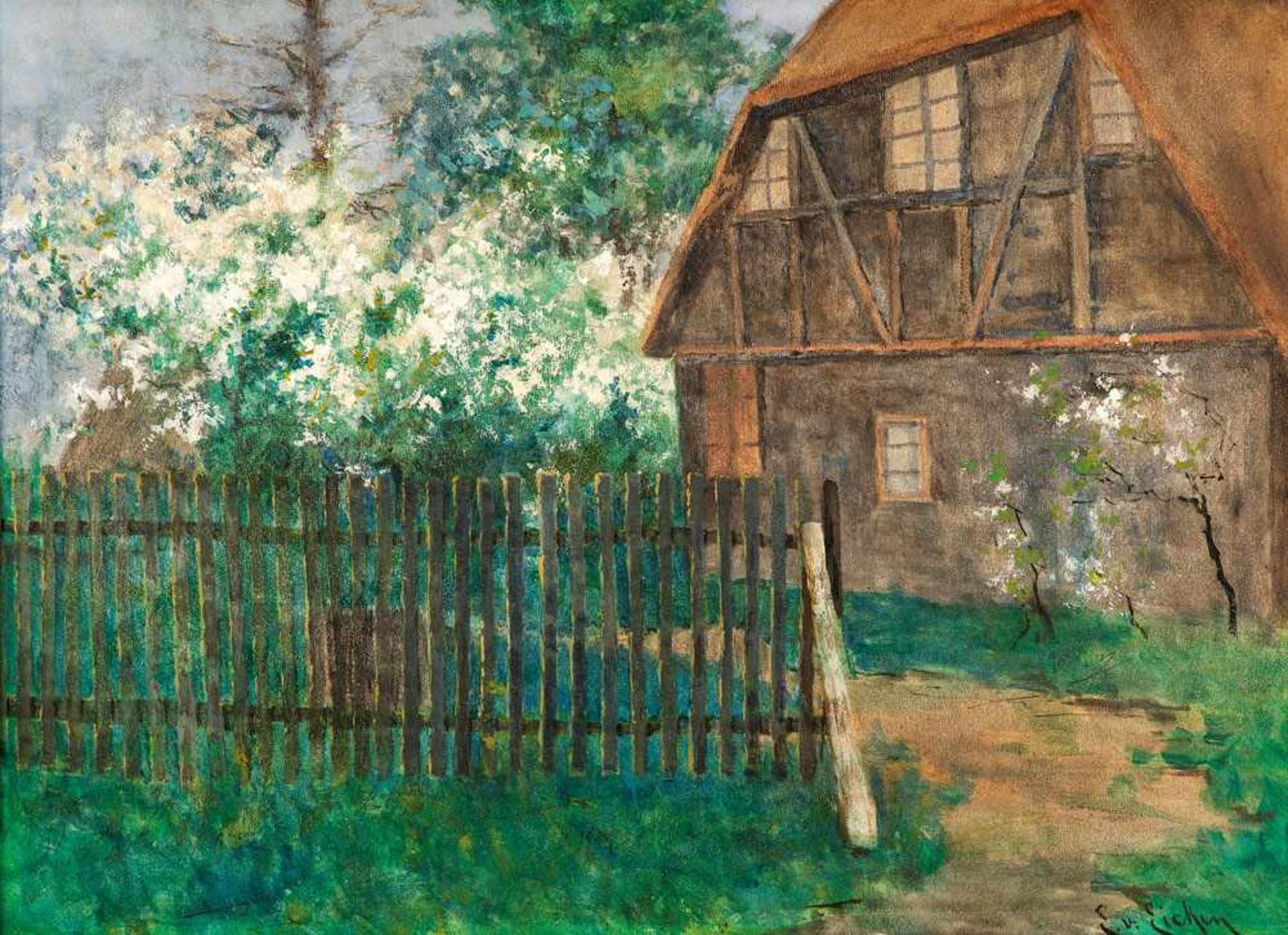 Elisabeth von Eicken (1862 Mülheim/Ruhr - 1940 Michendorf) Gehöft im Frühling. Gouache. Um 1890.