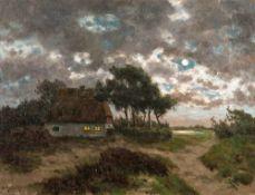 Paul Müller-Kaempff (1861 Oldenburg - 1941 Berlin)Aufgehender Mond über dem Bodden.Öl auf Leinwand.