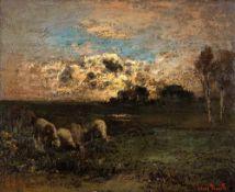 Louis Douzette (1834 Tribsees - 1924 Barth) Schafe bei Krabbenort. Öl auf Malkarton. Um 1915. 500 x