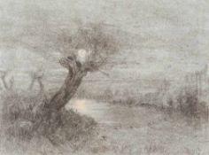 Louis Douzette (1834 Tribsees - 1924 Barth)Weiden im Mondschein, um 1870.Kohle-, Pastellzeichnung.