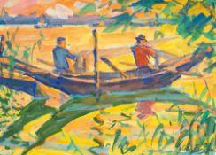 Otto Beyer (1885 Kattowitz - 1962 Berlin)Fischer am Haff, 1929.Gouache. 350 x 485 mm. U. r.